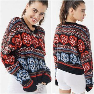 NEW UO Black Blue Red Floral Rose sweater